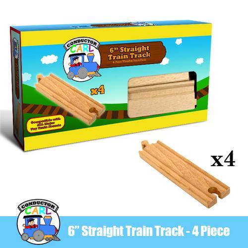6' Straight Wooden Train Tracks, 4-pack