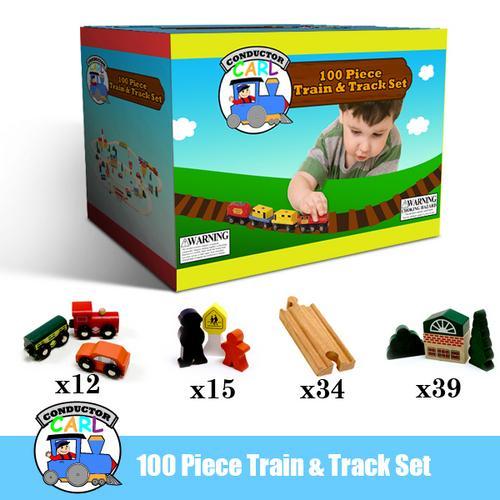 56-piece Bulk Value Wooden Train Track Pack