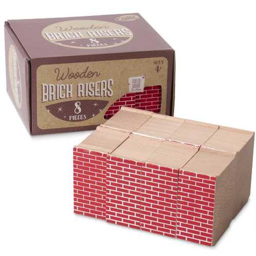 Red Brick Wood Train Risers, 8-pack