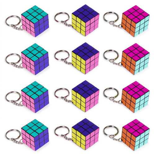 12 Pack - 80s Retro Puzzle Cube Keychains