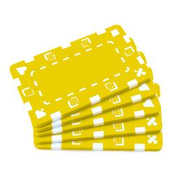 5 Yellow Rectangular Poker Chips