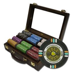 "300Ct Custom Claysmith ""Gold Rush"" Chip Set in Walnut Case"