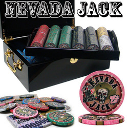 Category: Dropship Poker / Casino Supplies, SKU #CSNJ-500M, Title: Pre-Packaged - 500 Ct Nevada Jack Black Mahogany Chip Set