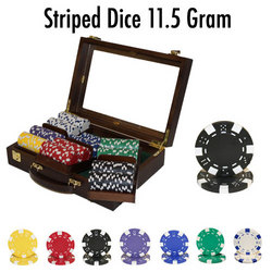 300 Ct - Pre-Packaged - Striped Dice 11.5 G - Walnut