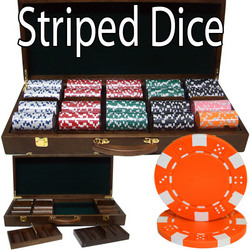 500 Ct - Pre-Packaged - Striped Dice 11.5 G - Walnut Case