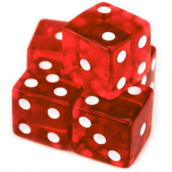 5 Red Dice - 19mm
