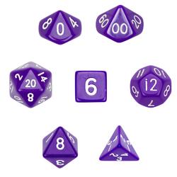7 Die Polyhedral Dice Set  in Velvet Pouch-Opaque Purple