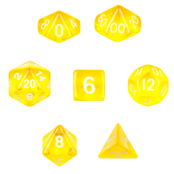 7 Die Polyhedral  Set  in Velvet Pouch-Translucent Yellow
