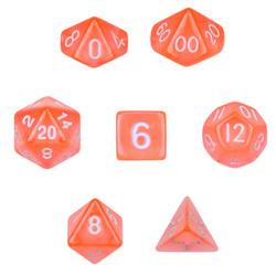 7 Die Polyhedral Set  in Velvet Pouch-Translucent Orange