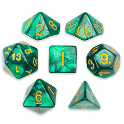 7 Die Polyhedral Set in Velvet Pouch, Basilisk Blood