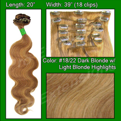 "#18/22 Dark Blonde with Light Highlights - 20"" Body Wave"