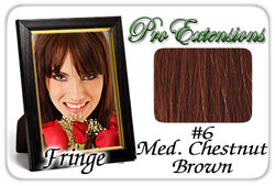 #6 Medium Chestnut Brown Pro  Fringe Clip In Bangs