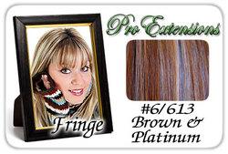 #6/613 Chestnut Brown & Platinum Highlights Clip In Bangs