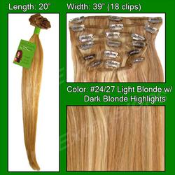 #24/27 Medium Blonde w/ Dark Blonde Highlights- 20 inch Remi