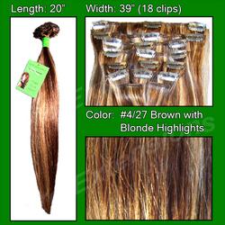 #4/27 Brown w/ Blonde Highlights - 20 inch Remi