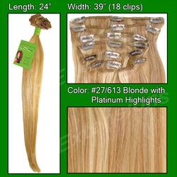 #27/613 Golden Blonde w/ Platinum Highlights - 24 inch Remy