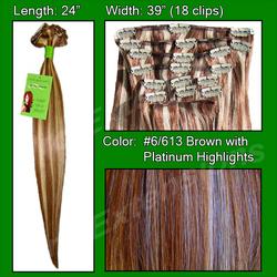 #6/613 Chestnut Brown w/ Platinum Highlights - 24 inch Remy