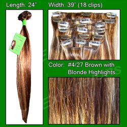 #4/27 Dark Brown w/ Golden Blonde Highlights - 24 inch