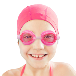Kids Swim Goggles & Case, Pink