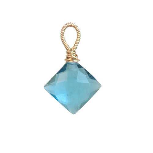 Aqua quartz diamond - Silver