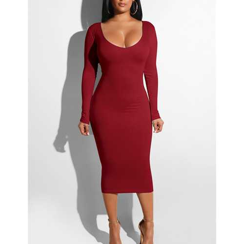Women Sexy Bandage Dresses Hollow out Bodycon Dress Wine Red