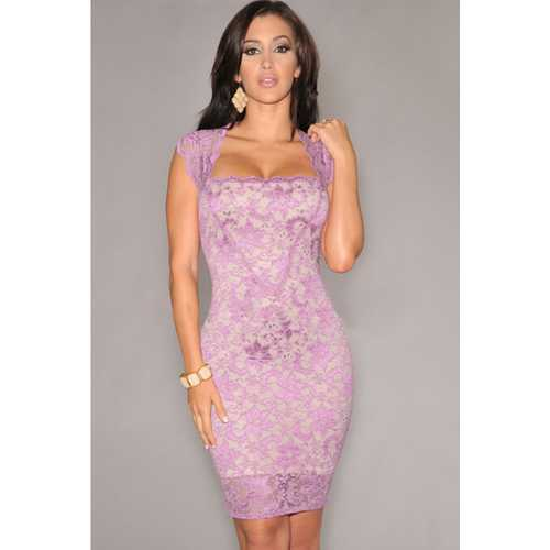 Pink Elegant Slash Neck Embroidered Lace Nude Illusion Clubwear