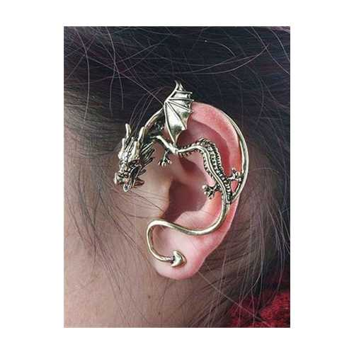 Gothic Dragon Earrings Gold