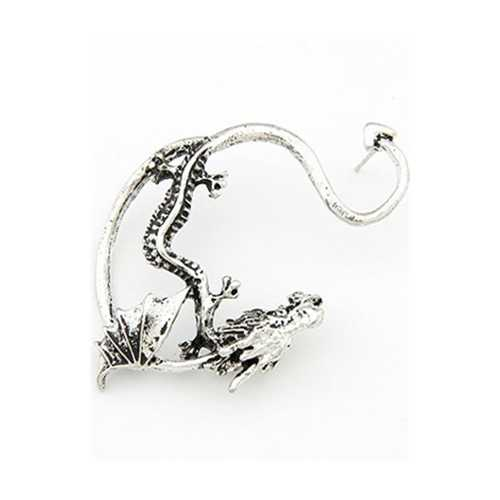 Gothic Dragon Earrings Silver