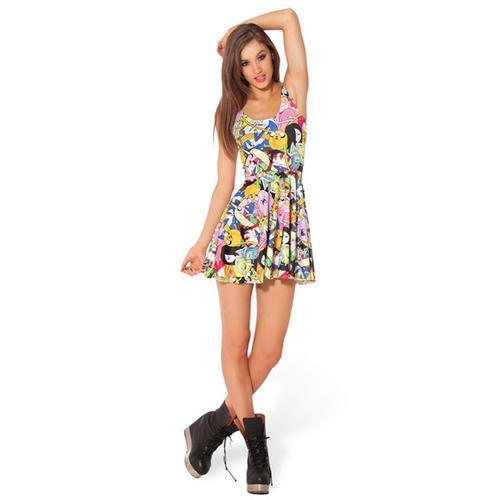 New Adventure Time Reversible Print Mini Skater Dress