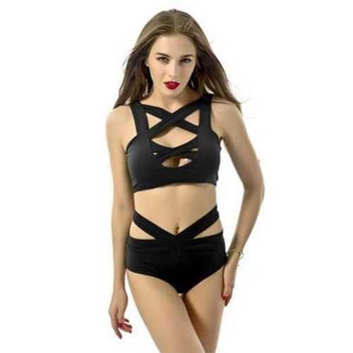 Black Sexy Split Bandage Crossover Bikini Suit