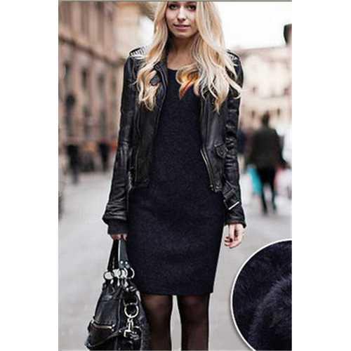 Plus size slim fit and over hip dress plus size woolen dress royalblue