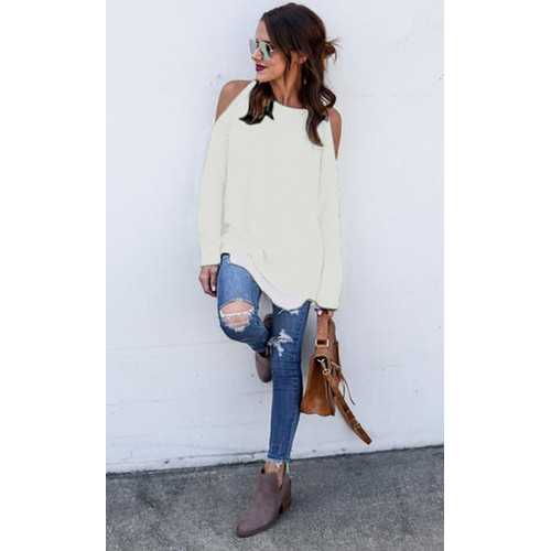 Women Solid Color Off-shoulder Casual Tops White