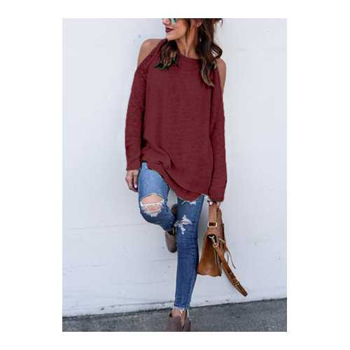 Solid color off-the-shoulder Casual Tops Wine Red