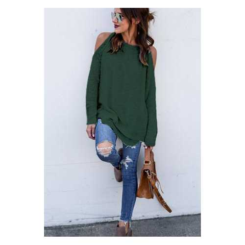 Women Solid Color Off-the-shoulder Casual Tops Green