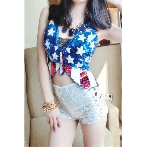 Sexy American Flag Sequined Camisole Top