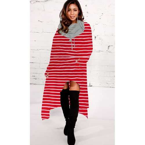 2018 fashion high-low stripe hoodie dress