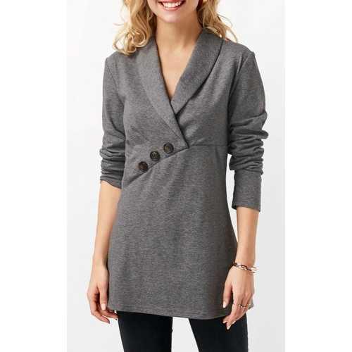Gray Women V-Neck Pullover Top