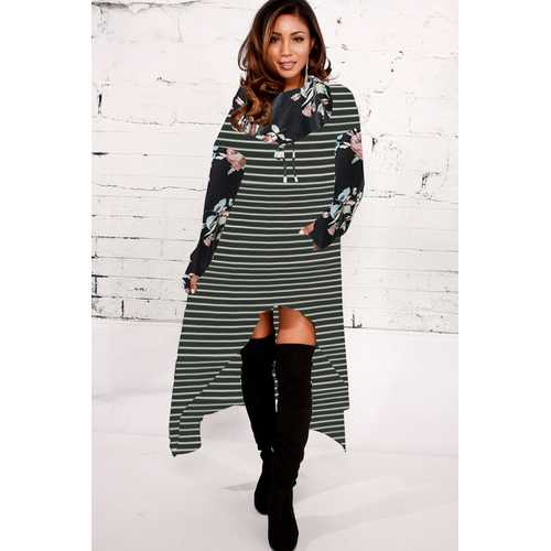 2018 Fashion Striped Floral Print High-low Hoodie Dresses Black