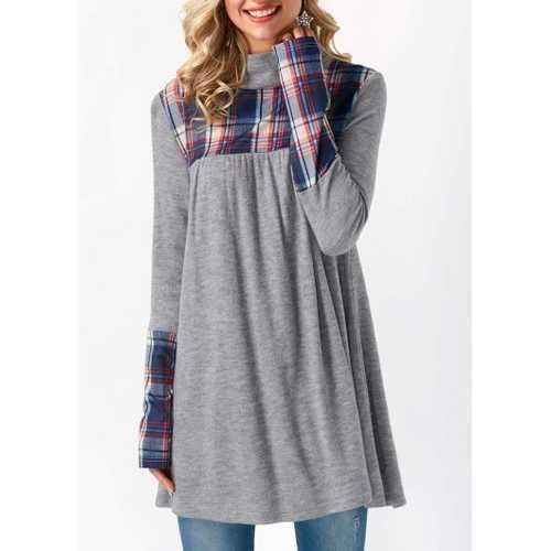 Plaid Splice Long Sleeve Plus Size Tunic Top Gray
