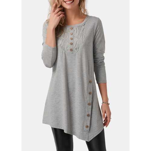 Women Long Sleeve Tops with Button Shirt Gray