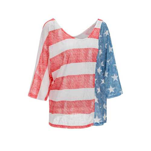 European and American leisure and loose patchwork top women