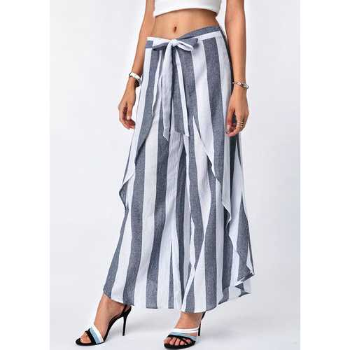 Women Stripe Print Asymmetrical Loose Divided Skirt