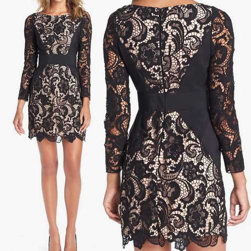 Long Sleeve Crochet Lace Panel Bodycon Pencil Dress