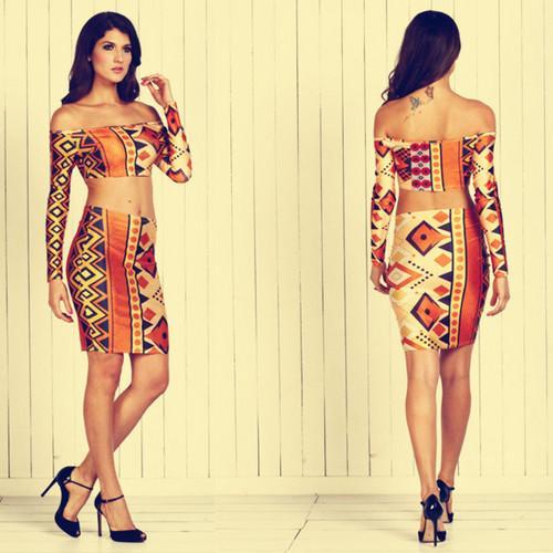 Shoulderless printing sexy midi dress