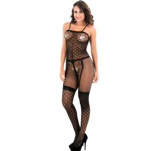 Sexy mesh whole body jacquard false garter with full-length stockings