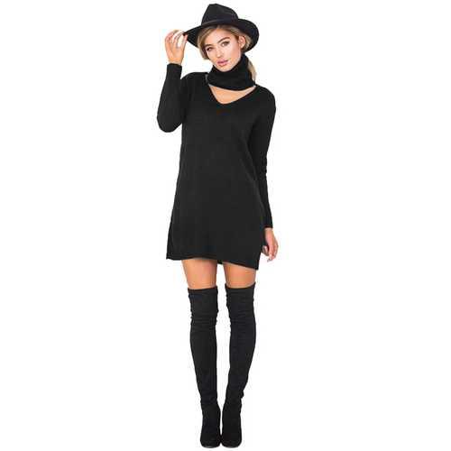 Personality Hang Neck Slim Sweater Dress