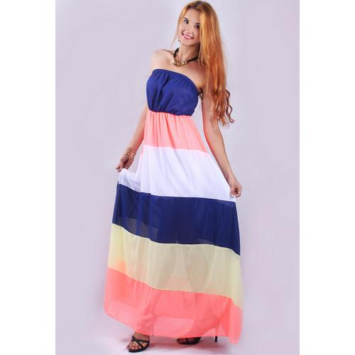 Sexy Colorful Strapless Splice Chiffon Party Evening Dress