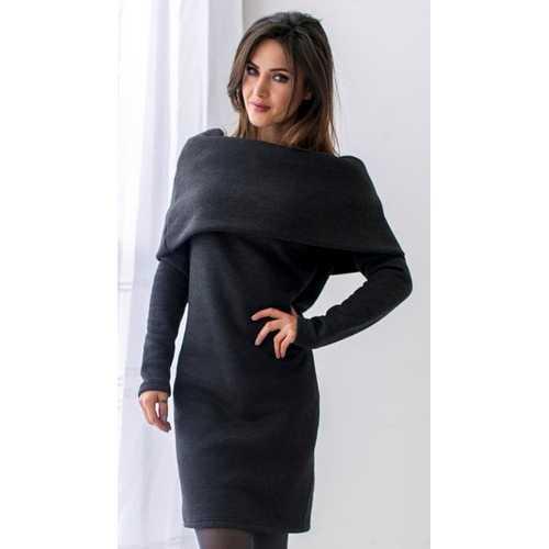 Women Long Sleeve Hoodie Dress Dark Grey