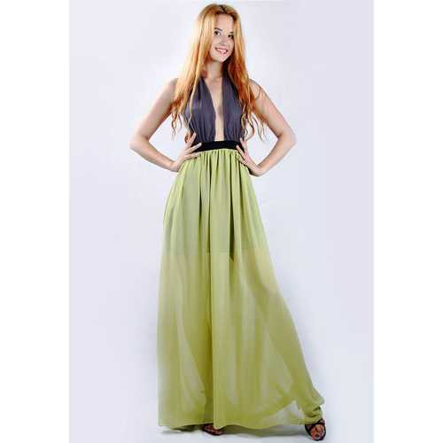 Yellow Hollow Out Bodycon Bandage Maxi Dress
