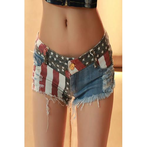 Sexy American Flag Denim Shorts Jeans Shorts